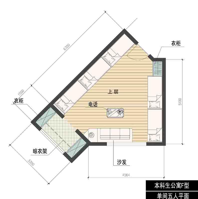 大学生宿舍平面图-学生公寓工程